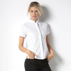 KK260 Women's mandarin collar fitted shirt short sleeve main image