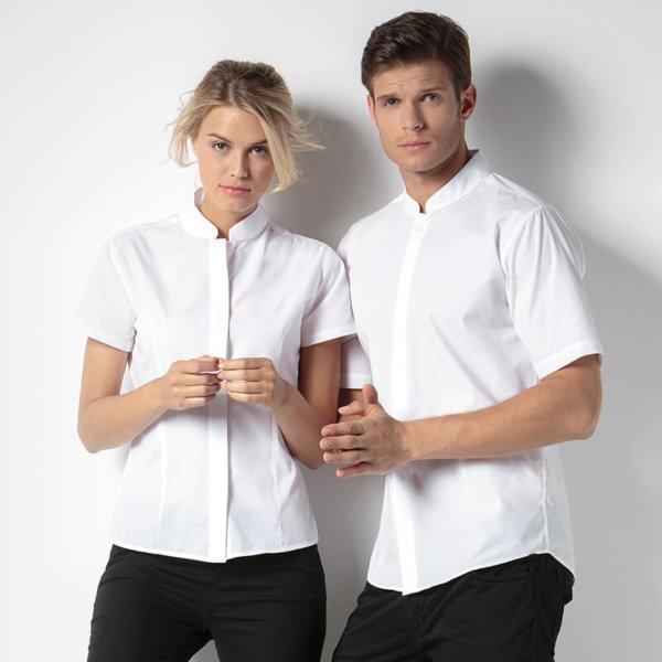KK260 Women's mandarin collar fitted shirt short sleeve image
